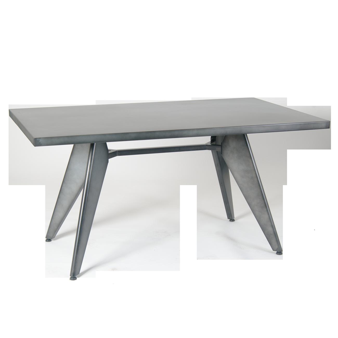 Galvanized Patio Furniture.36 X 60 Galvanized Steel Table In Cement Color Restaurant