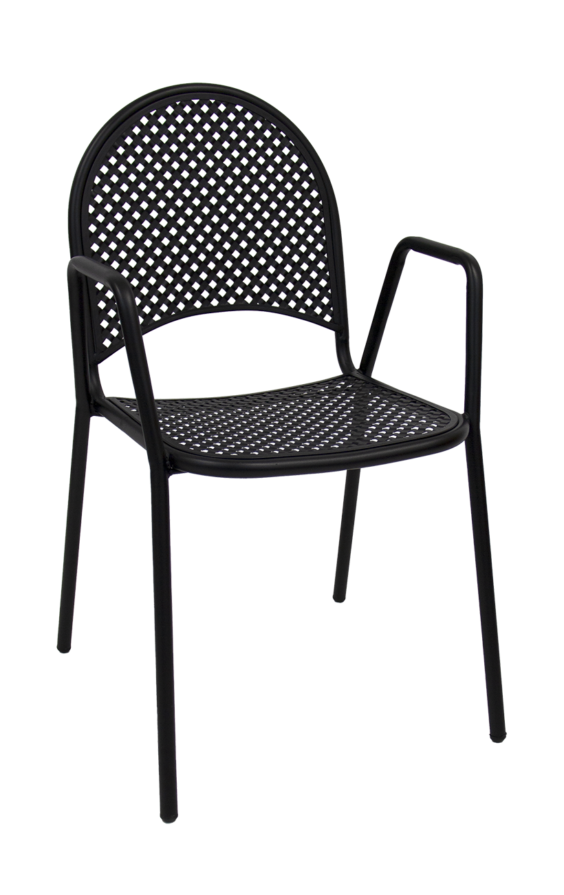 Pleasing Metal Patio Stack Chair With Armrest Restaurant Furniture Home Interior And Landscaping Eliaenasavecom