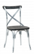 Chinese Fir Wood X Back Metal Chair, White Color