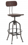 Adjustable Swivel Metal Barstool w/. Plywood Back & Seat