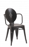 Black Finish Metal Armchair
