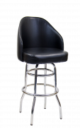 Swivel Barstool w/ Double Chrome Ring Base & Large Bucket Seat