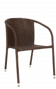 Outdoor Steel Brown Synthetic Rattan Armrest Chair