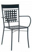 Lattice Back Outdoor Metal Armchair