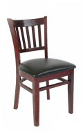 Elmwood Vertical Slat Side Chair in Dark Mahogany Finish w/ Black Vinyl Seat