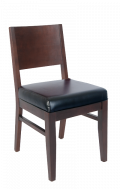 Beech Wood Chair in Walnut Finish with Black Vinyl Seat