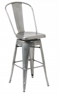 Clear Coat Tolix Style Swivel Metal Barstool