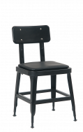 Black Steel Chair with Vinyl Seat