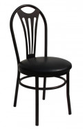 Arc Tube Metal Chair with Black Vinyl Seat