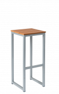 Imitation Teak Slats Backless Aluminum Barstool