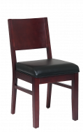 Beech Wood Chair in Dark Mahogany Finish with Black Vinyl Seat