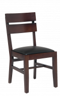Walnut Wood Slats Dining Chair with Black VInyl Seat