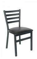 Ladder Back Armless Dining Chair with Vinyl Seat