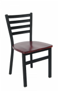 Ladder Back Armless Dining Chair with Wood Seat