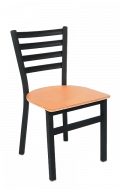 Ladder Back Armless Dining Chair with Veneer Seat