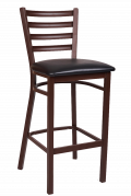 Ladder Back Brown Finish Metal Barstool