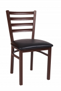 Ladder Back Brown Finish Metal Chair with Vinyl Seat