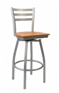 Grey Frame,3 Slat Ladder Back Swivel Metal Barstool w/ Veneer Seat