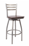 Grey Frame,3 Slat Ladder Back Swivel Metal Barstool w/ Wood Seat