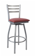 Grey Frame,3 Slat Ladder Back Swivel Metal Barstool w/ Vinyl Seat