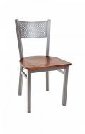 Grey Finish Perforated Back Metal Chair w/ Veneer Seat