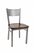 Grey Finish Perforated Back Metal Chair w/ Wood Seat