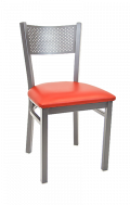 Grey Finish Perforated Back Metal Chair w/ Vinyl Seat