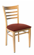 Natural Wood Grain Ladder back Metal Chair with Vinyl Seat