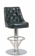 Bucket Seat Button Tufted Swivel Barstool w/. Stainless Steel Base