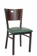 Oval Walnut Back Metal Chair with Green Vinyl Seat