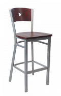Grey Frame,Star Back Metal Barstool w/ Dark Mahogany Back and Wood Seat