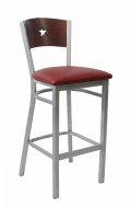 Grey Frame,Star Back Metal Barstool w/ Dark Mahogany Back and Vinyl Seat