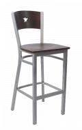 Grey Frame,Star Back Metal Barstool w/ Walnut Back and Veneer Seat