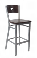 Grey Frame,Star Back Metal Barstool w/ Walnut Back and Wood Seat