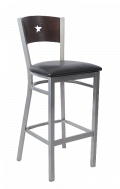 Grey Frame,Star Back Metal Barstool w/ Walnut Back and Vinyl Seat