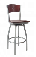 Grey Frame,Star Back Swivel Metal Barstool w/ DM Back and Veneer Seat