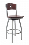 Grey Frame,Star Back Swivel Metal Barstool w/ DM Back and Wood Seat