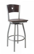 Grey Frame,Star Back Swivel Metal Barstool w/ Walnut Back and Veneer Seat