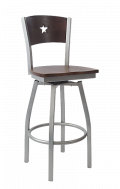 Grey Frame,Star Back Swivel Metal Barstool w/ Walnut Back and Wood Seat