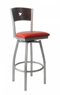 Grey Frame,Star Back Swivel Metal Barstool w/ Walnut Back and Vinyl Seat