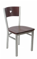 Grey Frame,Star Back Metal Chair w/ Dark Mahogany Back and Wood Seat