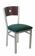 Grey Frame,Star Back  Metal Chair w/ Dark Mahogany Back and Vinyl Seat