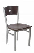 Grey Frame,Star Back Metal Chair w/ Walnut Back and Veneer Seat