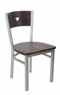 Grey Frame,Star Back Metal Chair w/ Walnut Back and Wood Seat