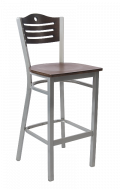 Grey Frame,3 Slats with Circle Metal Barstool w/ Walnut Back and Veneer Seat