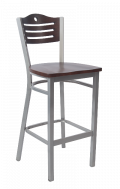 Grey Frame,3 Slats with Circle Metal Barstool w/ Walnut Back and Wood Seat