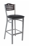 Grey Frame,3 Slats with Circle Metal Barstool w/ Walnut Back and Vinyl Seat