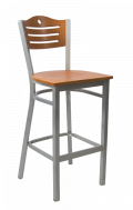 Grey Frame,3 Slats with Circle Metal Barstool w/ Cherry Back and Veneer Seat