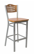 Grey Frame,3 Slats with Circle Metal Barstool w/ Cherry Back and Wood Seat