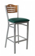 Grey Frame,3 Slats with Circle Metal Barstool w/ Cherry Back and Vinyl Seat